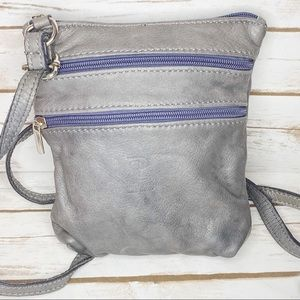 BP Grey Natural Leather Made in Italy Crossbody